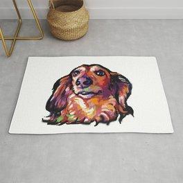 Dachshund Fun Dog Portait bright colorful Pop Art Painting by LEA Rug