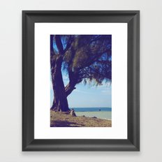 Fisherman in the distance, Mauritius Framed Art Print