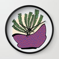 weed Wall Clocks featuring weed by Aleksandra Salevic