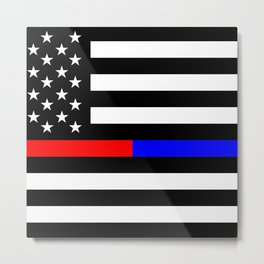 Thin Blue Red Line Police Metal Print
