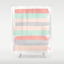 Stripes hand painted abstract minimal nursery decor gender neutral palette Shower Curtain