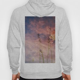 Butterfly and Blush Pink and Indigo Blue Sunset Hoody
