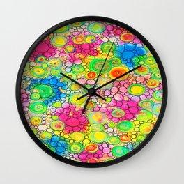 Psychedelic Circles Mixed media painting Wall Clock