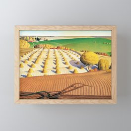Classical Masterpiece 'Fall Plowing' by Grant Wood Framed Mini Art Print