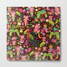 Hula Cuties Pattern Metal Print
