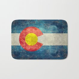 Colorado flag with Grungy Textures Bath Mat