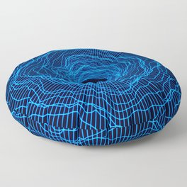 Black hole -futuristic space- Neon blue Floor Pillow