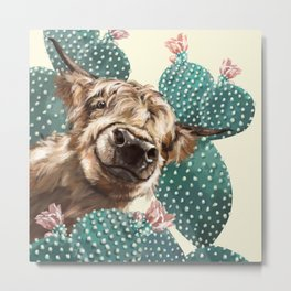 Sneaky Highland Cow and Cactus in yellow Metal Print