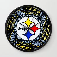 steelers Wall Clocks featuring New Tribal Steelers by Lonica Photography & Poly Designs