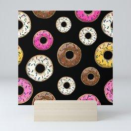 Funfetti Donuts - Black Mini Art Print
