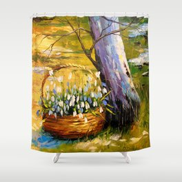 Basket of snowdrops Shower Curtain