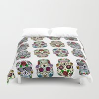sugar skulls Duvet Covers featuring Sugar skulls by very giorgious
