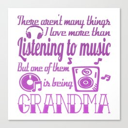 Listening To Music Grandma Canvas Print