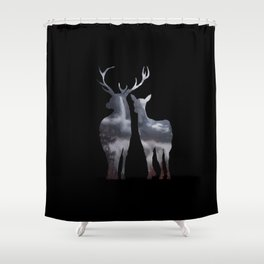Forest deer family black pattern Shower Curtain