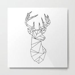 Geometric Stag (Black on White) Metal Print