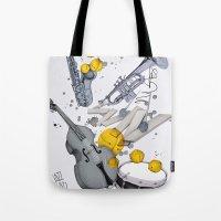 jazz Tote Bags featuring Jazz Jazz Jazz by Philipp Zurmöhle