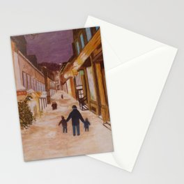 Street under the snow Stationery Cards