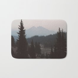 Pine forest In The Foreground Mountain In The Distance Modern Minimalist Photo Bath Mat