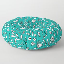 LotteZ' purse items doodle print (mint) Floor Pillow