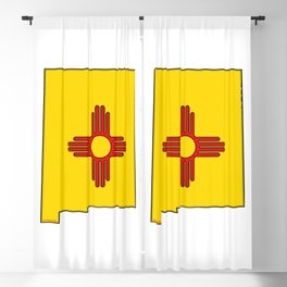 New Mexico Map with State Flag Blackout Curtain