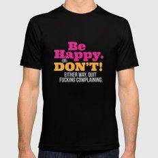 Be Happy MEDIUM Black Mens Fitted Tee