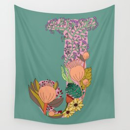 Floral Letter J Wall Tapestry