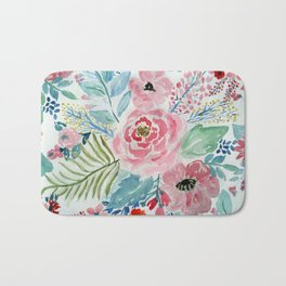 Pretty watercolor hand paint floral artwork. Bath Mat