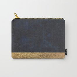 Color Blocked Gold & Cobalt Carry-All Pouch