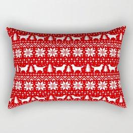 Golden Retriever Silhouettes Christmas Sweater Pattern Rectangular Pillow