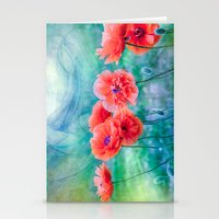 poppies Stationery Cards featuring Poppies by LudaNayvelt
