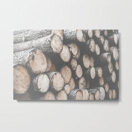 Pile of Felled Wood Logs Desaturated Metal Print