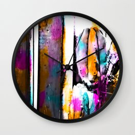 cactus with wooden background and colorful painting abstract in orange blue pink Wall Clock