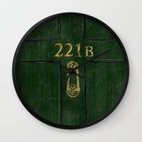 221b Wall Clocks featuring 221B Door by Kristina Moy