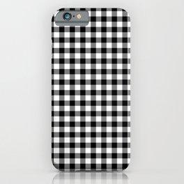 Medium Black Christmas Gingham Plaid Check iPhone Case