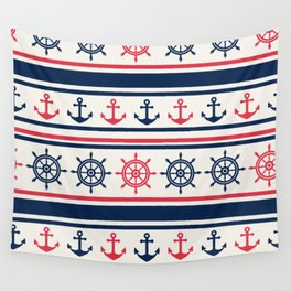 Blue Pink Sea Navy Pattern Wall Tapestry