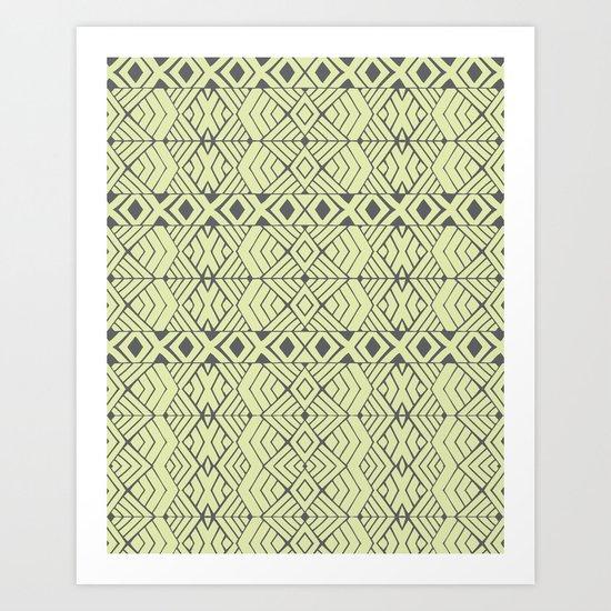 Lime Green Aztec Art Print