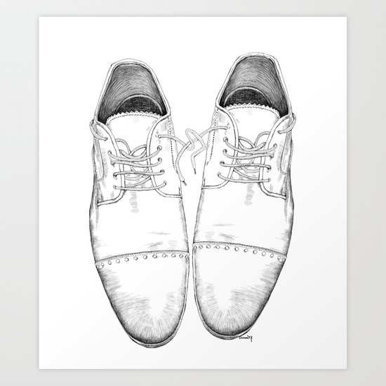 Shoes the drawing Art Print