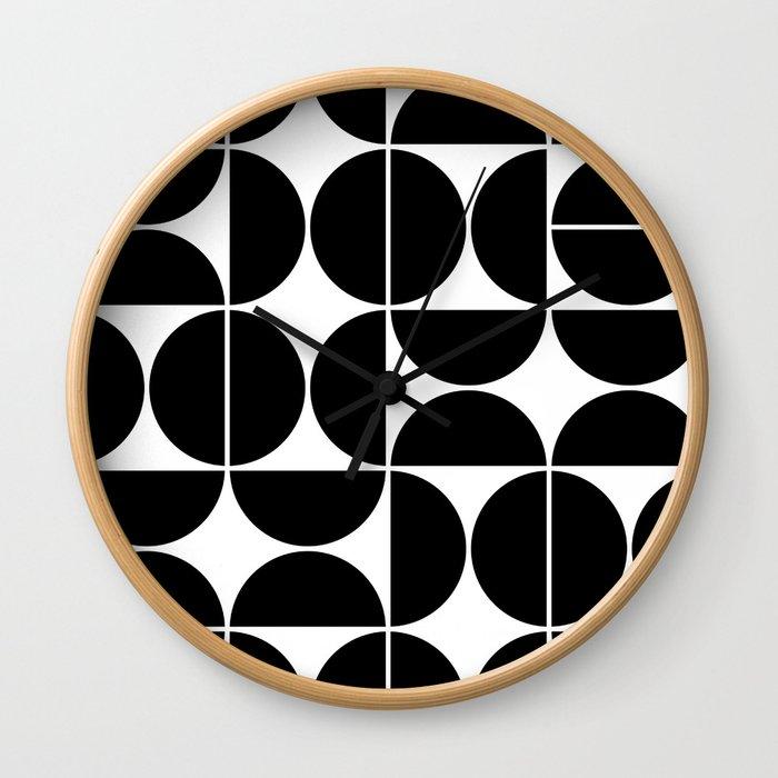 Mid Century Modern Geometric 04 Black Wall Clock