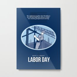 Celebrating Labor Day Greeting Card Metal Print