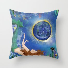 Mermaid World Throw Pillow