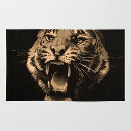 Vintage Tiger in black Rug