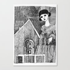 Girl on the top of her house. Canvas Print