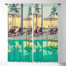 Summer By The Pool Blackout Curtain