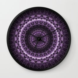Detailed mandala in gray and violet tones Wall Clock