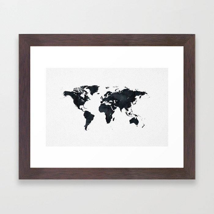 World Map in Black and White Ink on Paper Framed Art Print