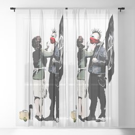 Banksy, Anarchist Punk And His Mother Artwork, Posters, Prints, Bags, Tshirts, Men, Women, Kids Sheer Curtain