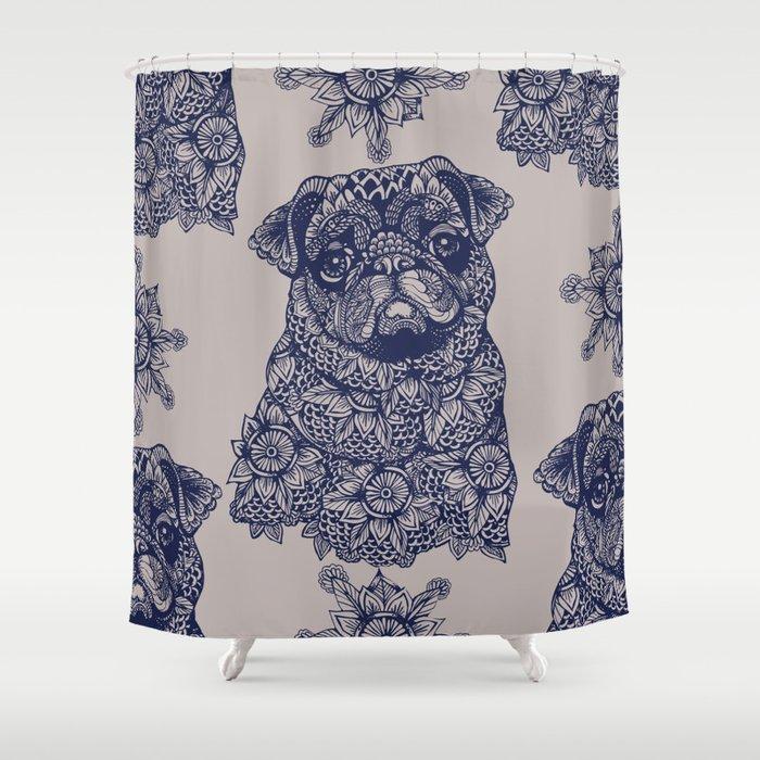 MANDALA OF PUG Shower Curtain By Huebucket