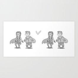 Me & You Grayscale Art Print
