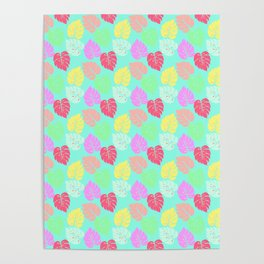 Pastel Rainbow Monstera Poster