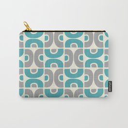 Funky Mid Century Modern Pattern 554 Gray and Turquoise Carry-All Pouch